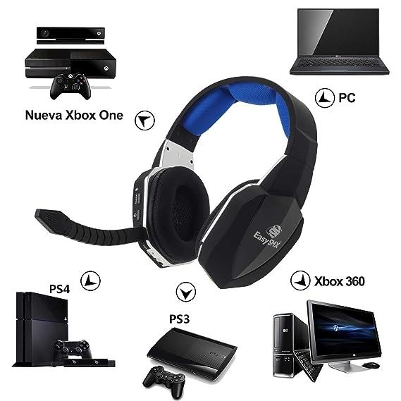 EasySMX [Virtual 7.1 Sonido] Cascos Inalámbricos, 2.4GHz Gaming Auriculares de Diadema para Xbox 360/PS4/PS3/Nueva Xbox One/PC y Mac con Batería Recargable ...