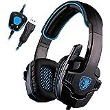 UL SADES SA901 7.1 Surround Stereo Pro USB Gaming Headset with Mic Deep Bass Headband Headphone (Blue)