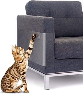 """SIEBIRD Cat Scratch Deterrent Tape, 100% Transparent Clear Cat Scratch Furniture Protector with Pins, Flexible Anti-Scratch Cat Training Tape Furniture Scratch Guards, 18"""" L X 10"""" W & 15"""" L X 12"""" W"""