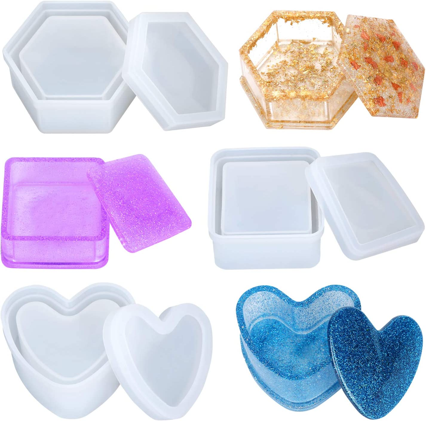 Keys Coins 1PCS Rings Box Resin Molds,DIY Flower Box Resin Mold for Making Gift Boxes Jewelry Box Molds for Storing Earrings