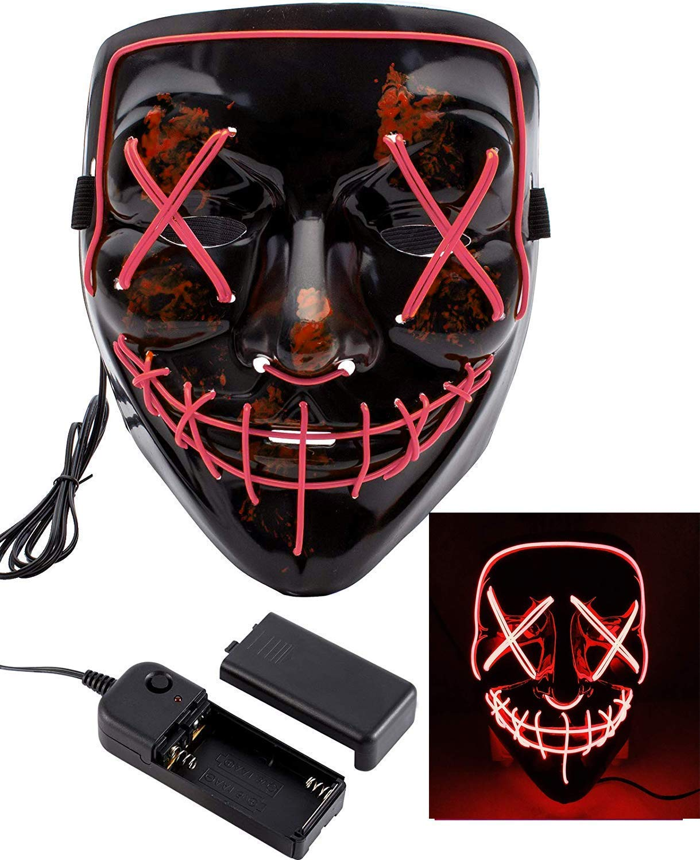 LOBKIN Halloween Scary Maske Cosplay Led Kostüm Maske EL Draht leuchten für Halloween Festival Party (Rot)