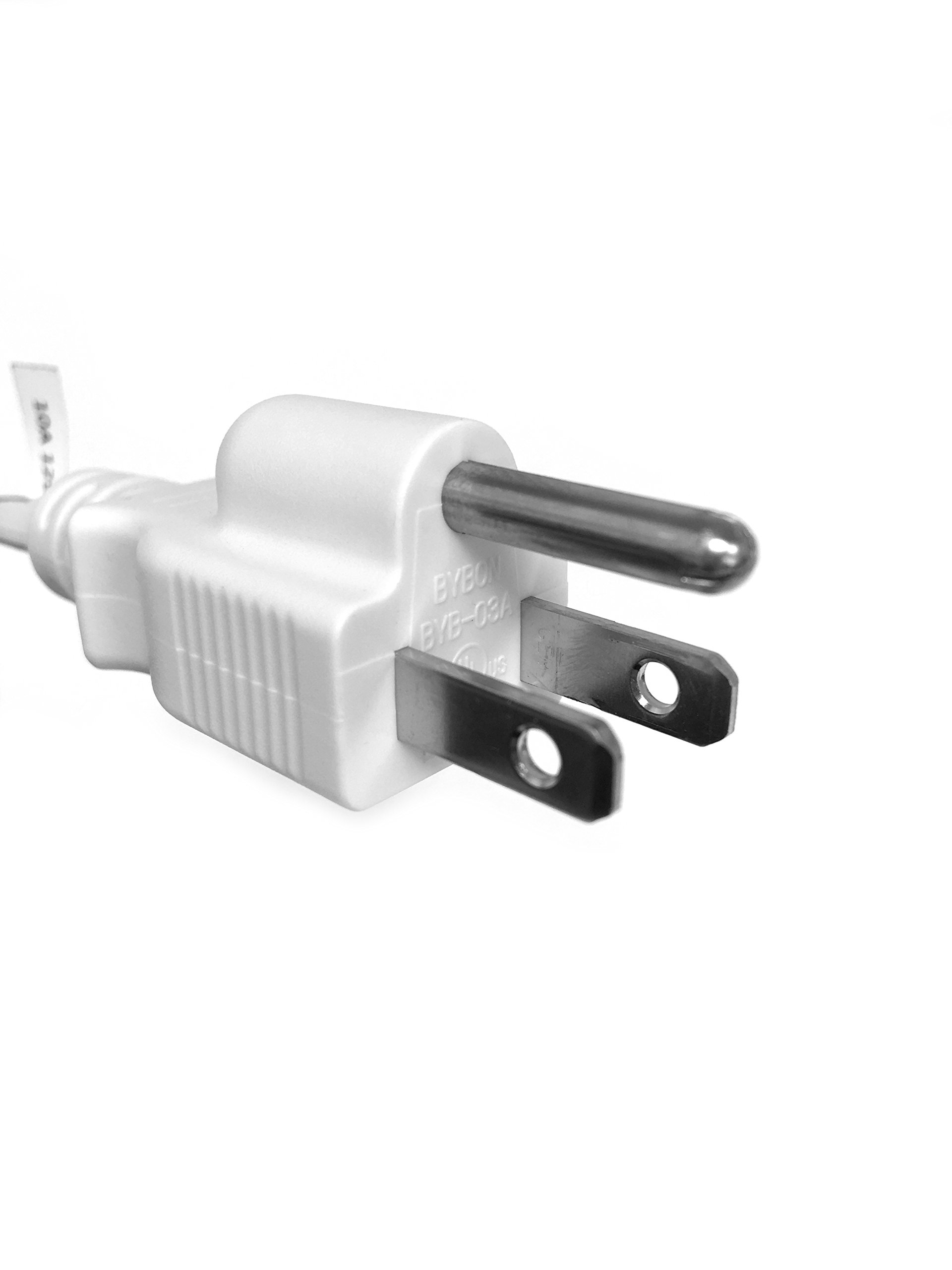 BYBON 25FT 18 AWG SJT Universal Power Cord NEMA 5-15P to C13,Computer/Printer Cord,White,UL listed. by BYBON