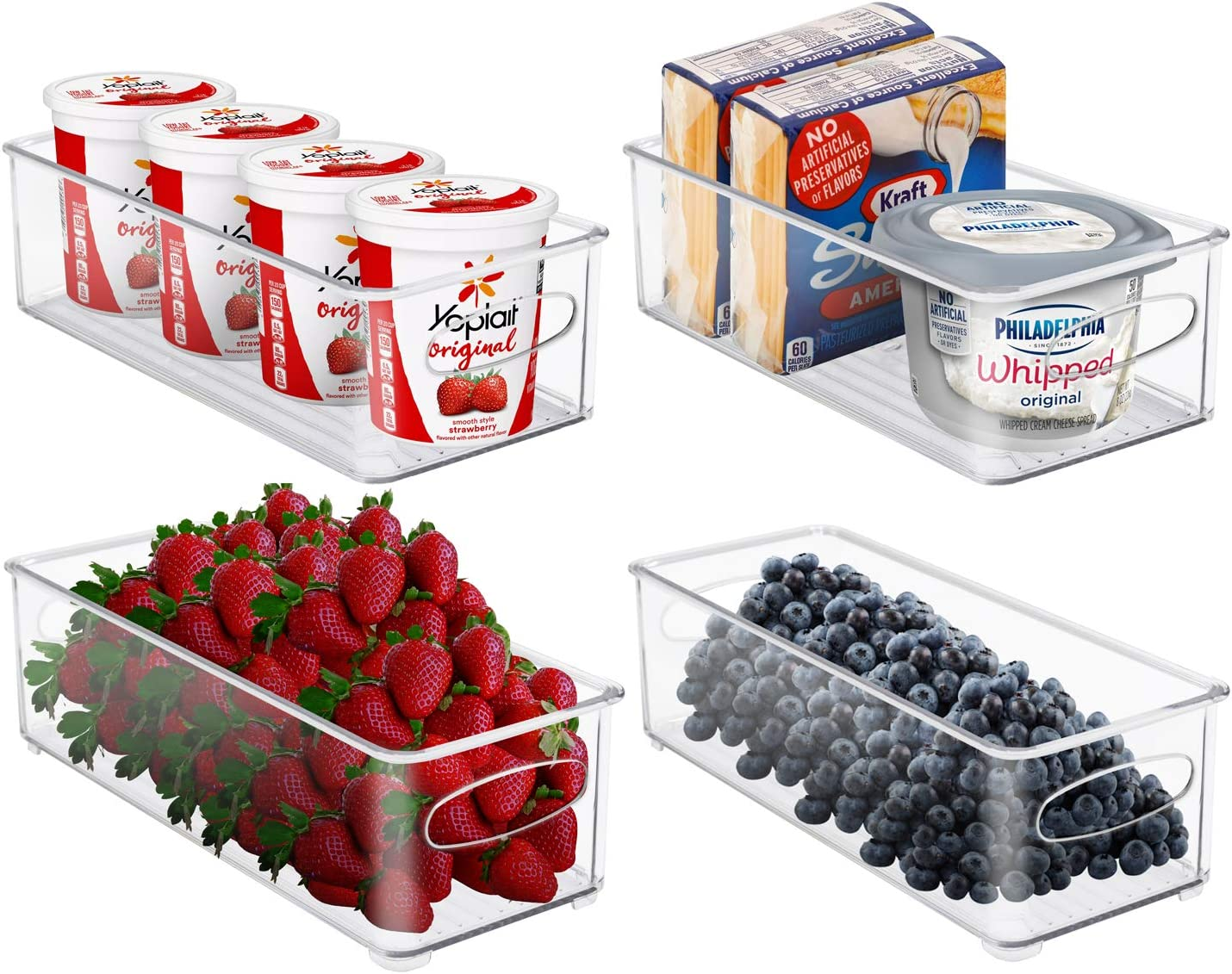 Sorbus Plastic Storage Bins Stackable Clear Pantry Organizer Box Bin Containers for Organizing Kitchen Fridge, Food, Snack Pantry Cabinet, Fruit, Vegetables, Bathroom Supplies (4-Pack)