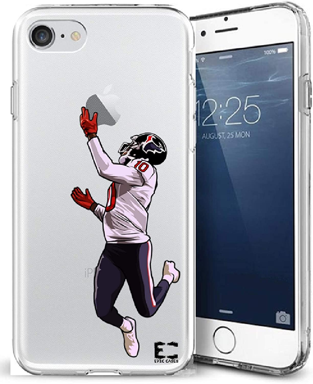Epic Cases iPhone6 Plus iPhone 7/iPhone 8 Plus Case Ultra Slim Crystal Clear Football Series Soft Transparent TPU Case Cover Apple (Dhop Texans, iPhone 6/7/8 Plus)