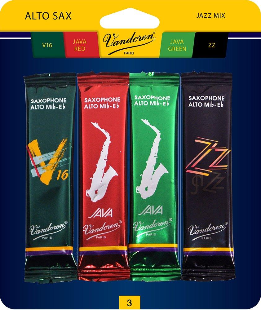 Vandoren SRMIXA3 Alto Sax Jazz Reed Mix Card includes 1 each ZZ, V16, JAVA and JAVA Red Strength 3