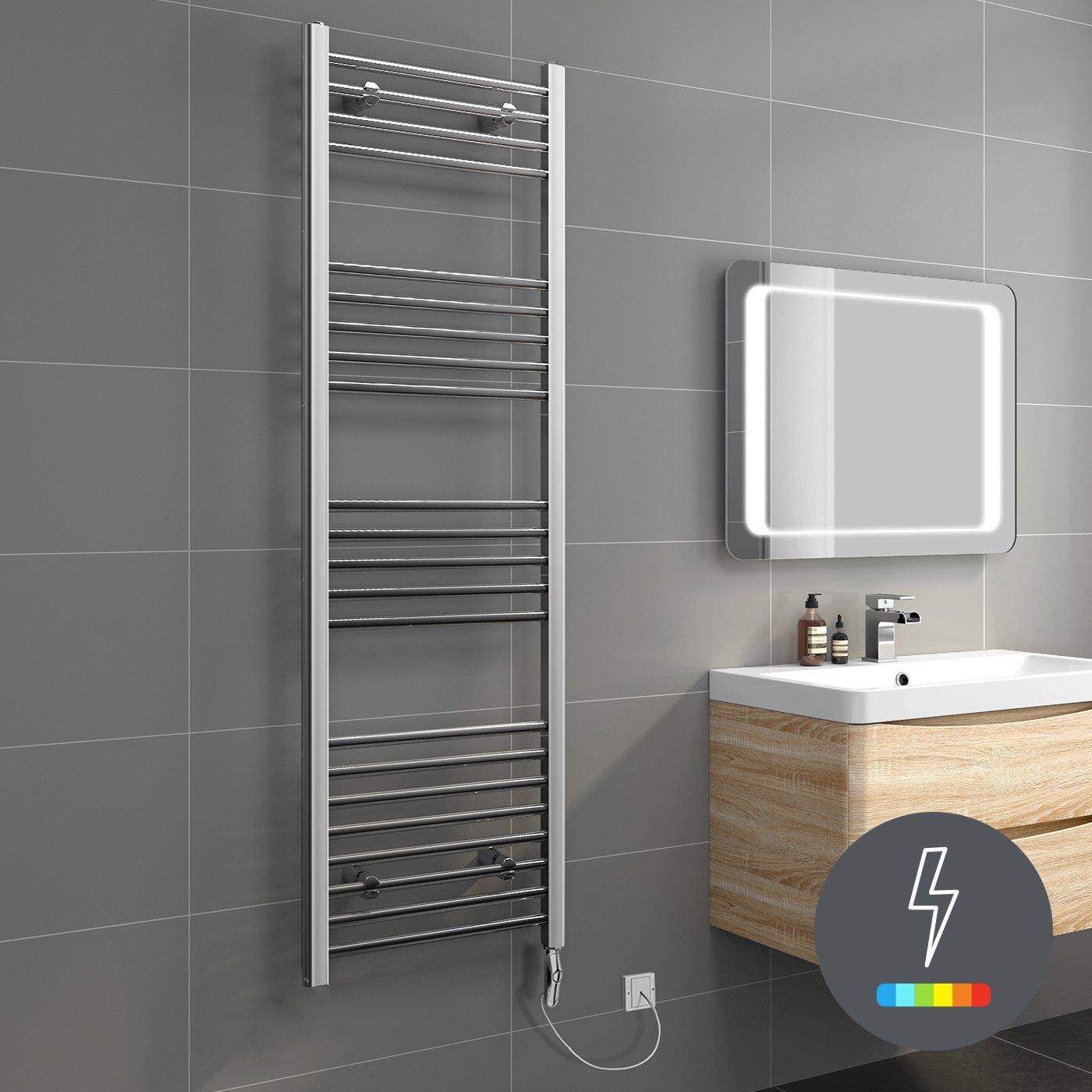 1600 x 500 iBathUK   1200 x 600 Thermostatic Electric Heated Towel Rail Bathroom Radiator