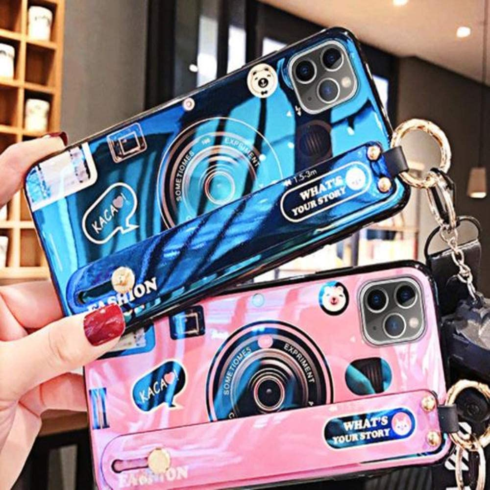 Aulzaju Case for Samsung Note 10,Galaxy Note 10 Wrist Strap Stand Cover Note 10 Finger Grip Hand Holder Case with Ring Cute Holographic Camera Design Case for Girls Women-Black