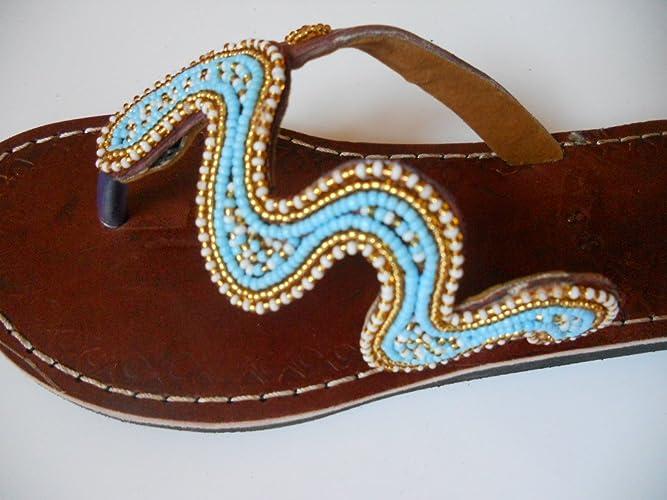 baa099fc26466 Amazon.com: Beaded sandals US 8 (EU 39) | Ethnic sandals | Leather ...