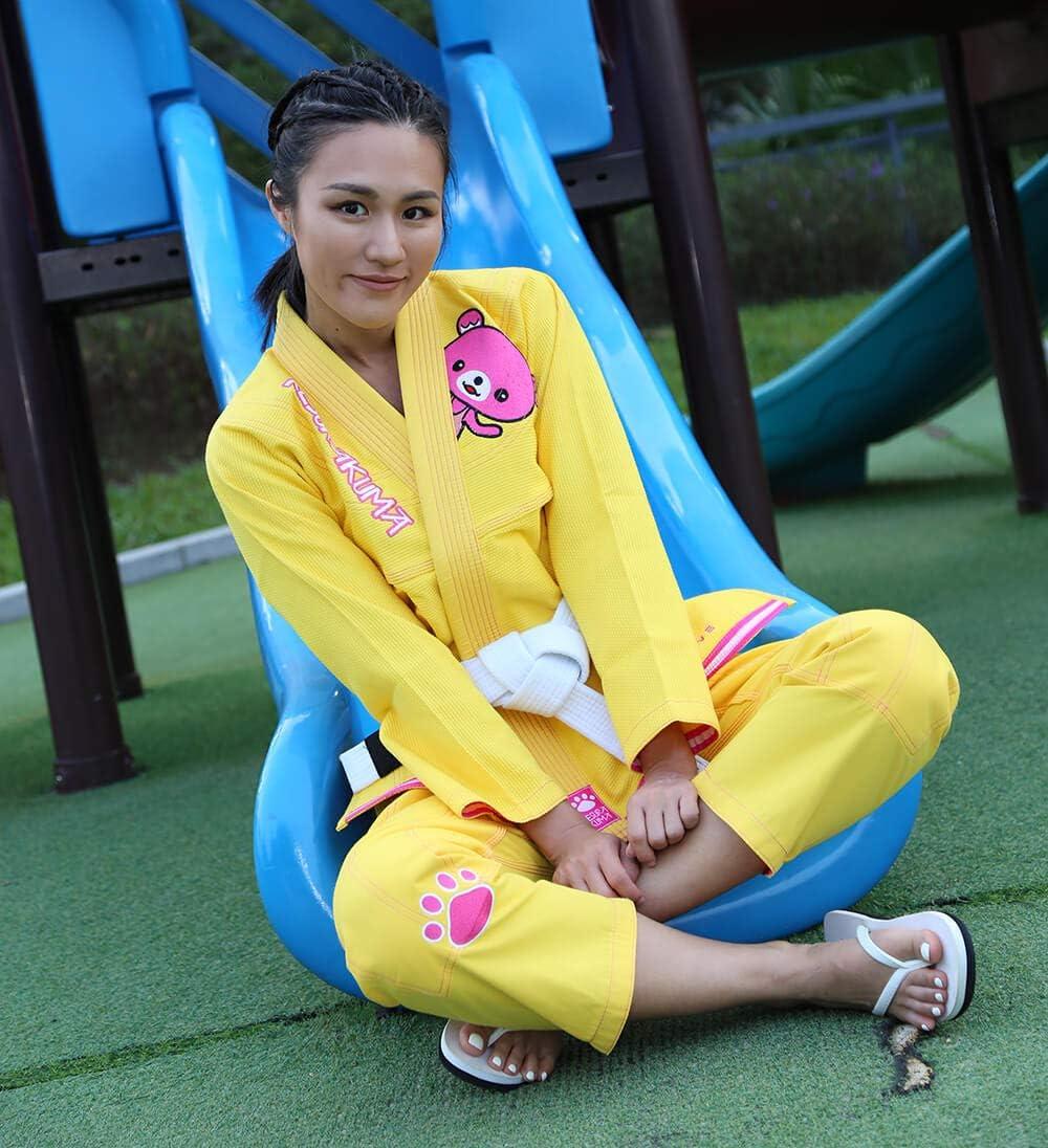 Fille SunRise Lever de Soleil pour Femme jiu-Jitsu br/ésilien F0 BJJF13HUANG Autrement Femelle JJB Kimonos Femme BJJ Uniforme