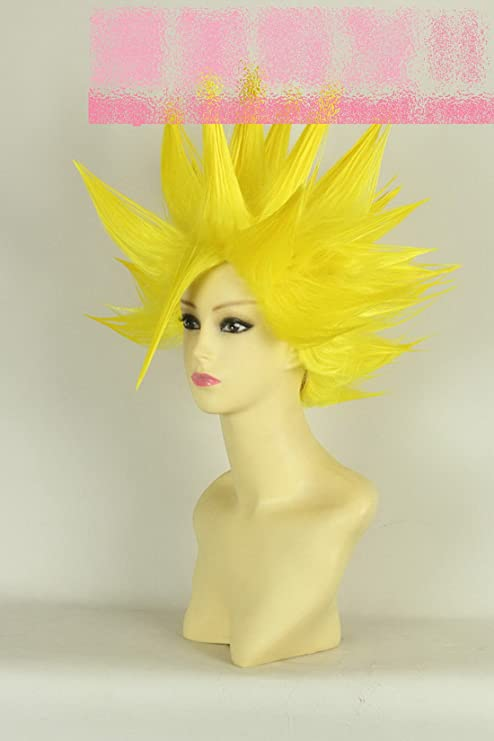 Corto amarilla recta pelo rizado peluca tailcosplay amarillas peluca de pelo corto peluca cosplay cosplay pelucas Dragonball Xi Beita peluca: Amazon.es: ...