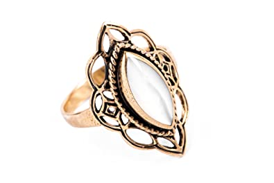 Windalf Medieval Ring Sheela Height: 0.9cm Mother of Pearl Elegant Bronze kOWPPyT