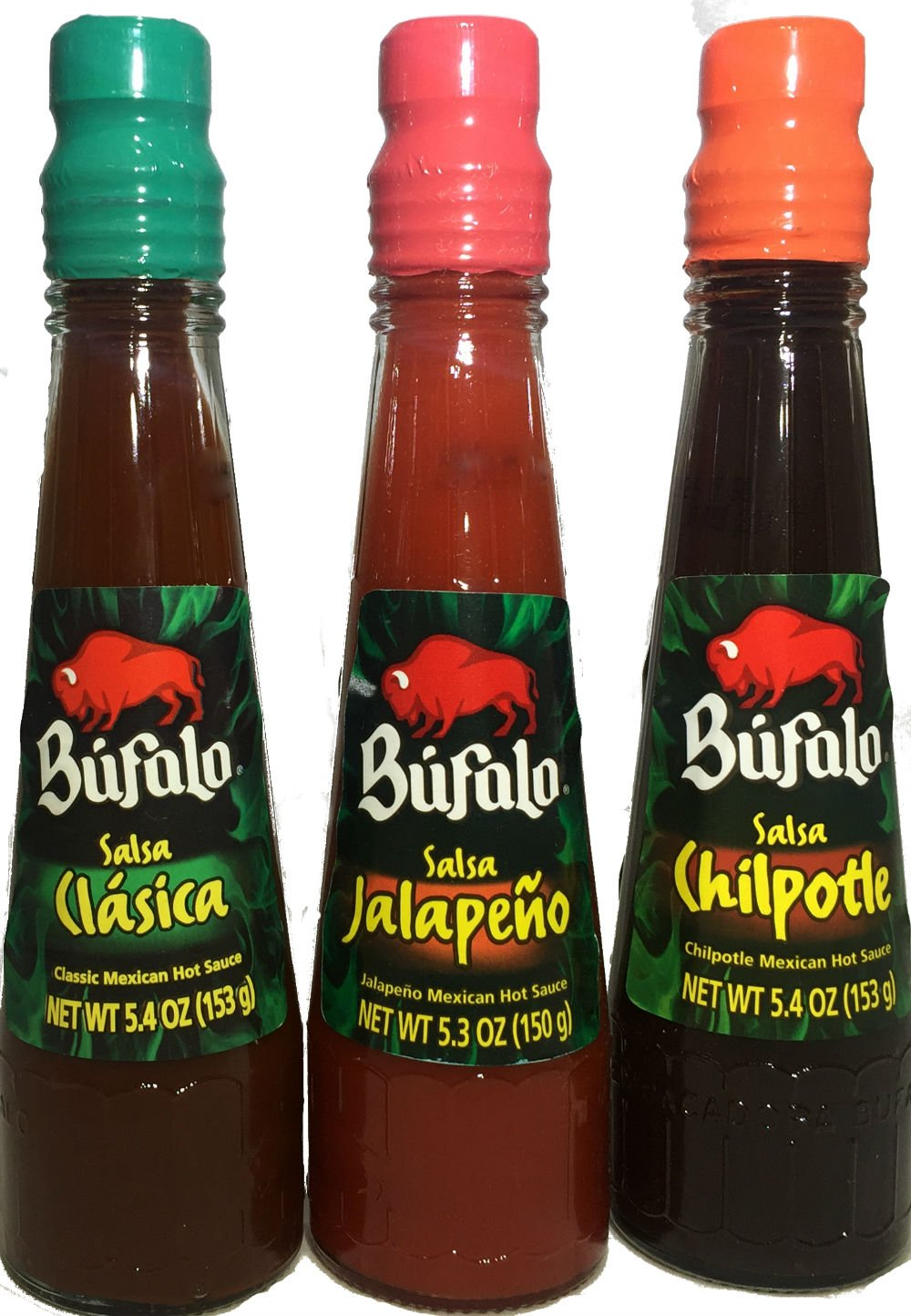 Bufalo Salsa set of 3 : Jalapeno (5.3 oz) , Chipotle (5.3 oz) , Clasica (5.3 oz).