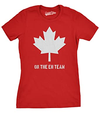 db35b34d2212 Womens Eh Team Canada T shirt Funny Canadian Shirts Novelty T shirt  Hilarious (Red)