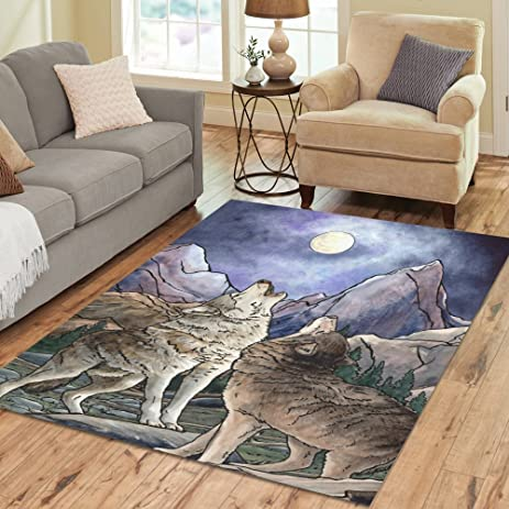 InterestPrint Wolf Howling At Moon Area Rugs Carpet 7 X 5 Feet Wild Animal