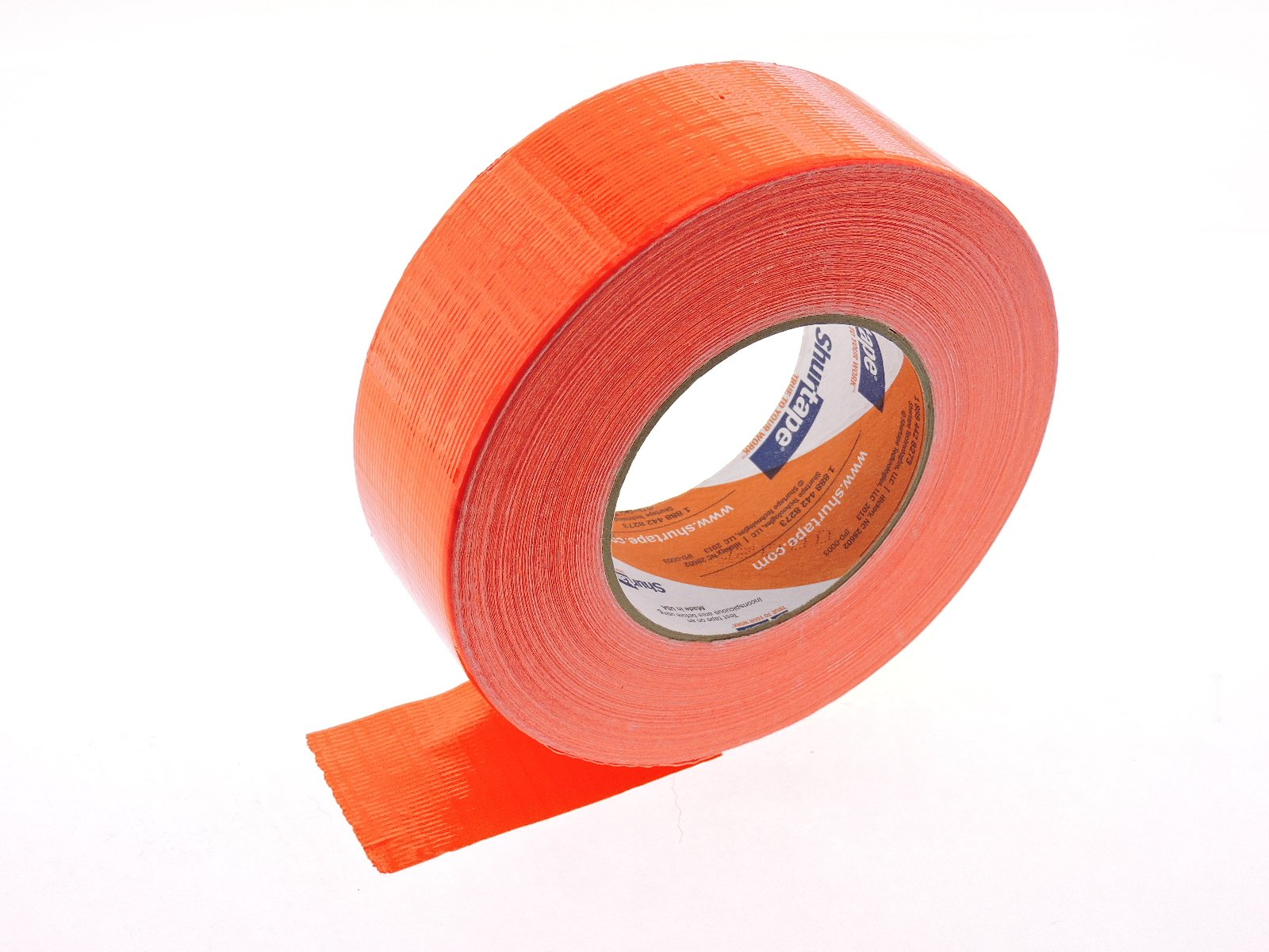 PC-619 Shurtape 2'' Orange Blaze Safety Hazard Bright Fluorescent Neon Colored 9 Mil Cloth Duct Tape Water UV Tear Resistant 60yd USA Made Colors High Visibility Safety Warning Marking