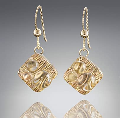 Gold Metal and Glass Modern Geometric Drop Earrings – Woven Rain