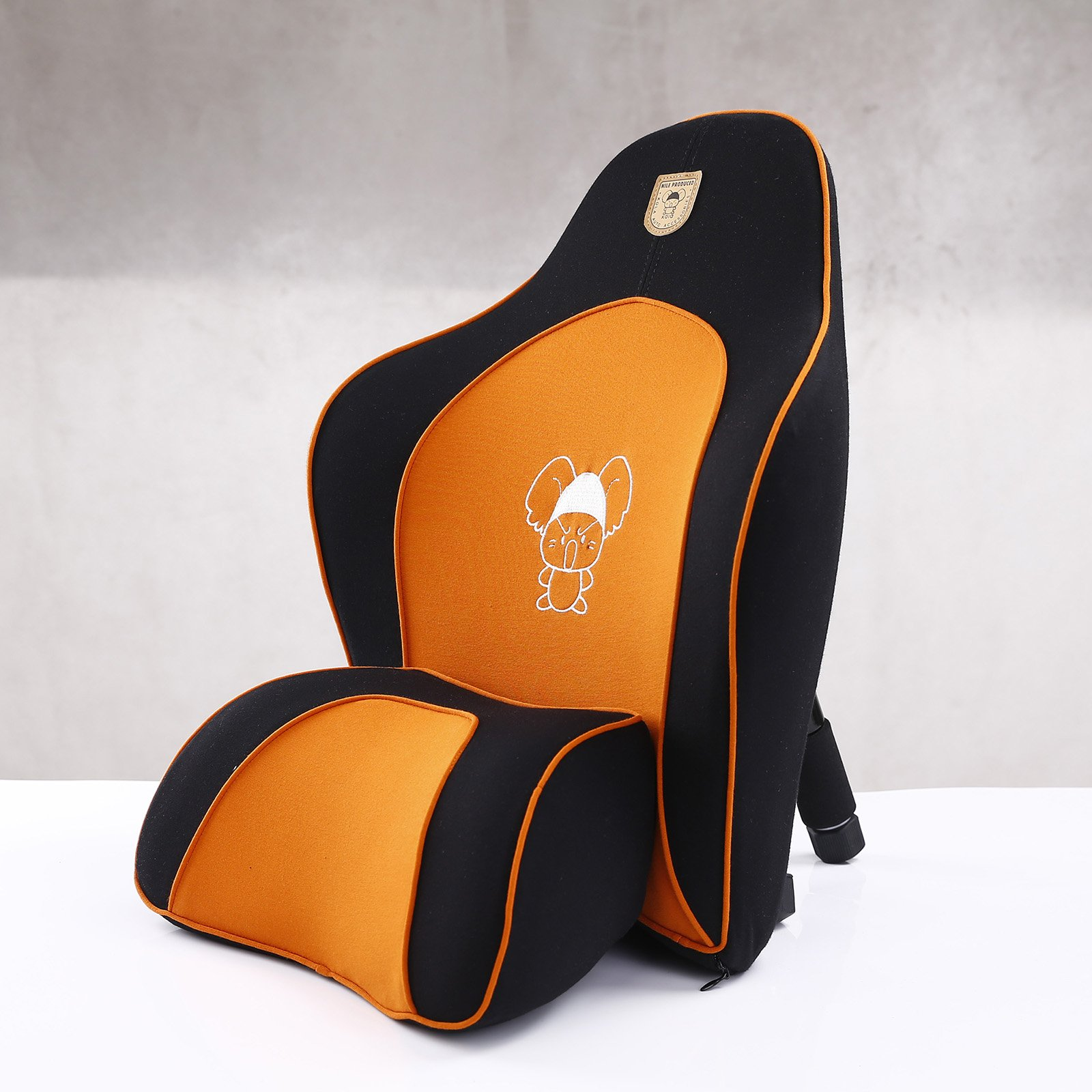 MeiBoAll Memory Foam Car Lumbar Cushion and Car Neck Pillow for Travel and Car Chair Relieve Back and Neck Pain Orange