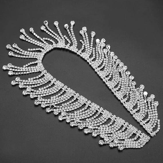 KUIDAMOS 1 Yard Crystal Applique Strass Brautmode Modekette f/ür Hochzeitsfeier Weihnachten DIY Dekoration Strass Quaste Fransen