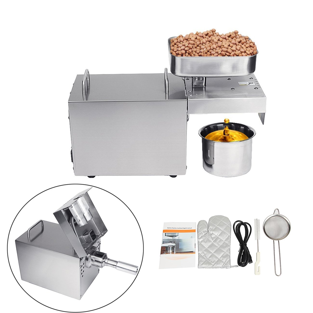 BEAMNOVA Automatic Oil Press Machine Commercial 304 Stainless Steel Peanut Nuts Seed Oil Expeller Extractor for Home