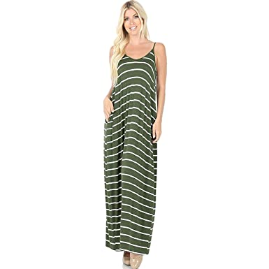 fb57d0fdc31f ZENANA Premium Women's Striped Long Maxi Dress for Summer Casual with  Pockets (Small, Army
