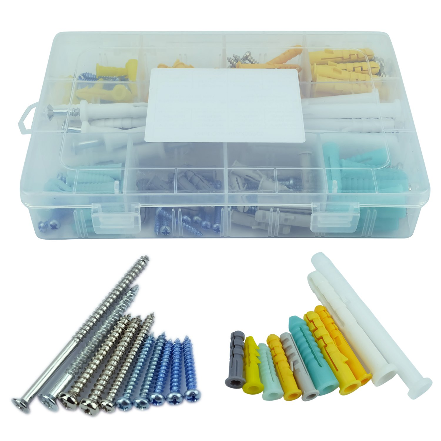 Mengar 200Pcs Assorted Sizes Hollow Self Drilling Drywall Anchors Screws Assortment Set Kit Plastic Self Drilling Drywall Anchors Assortment with Screws