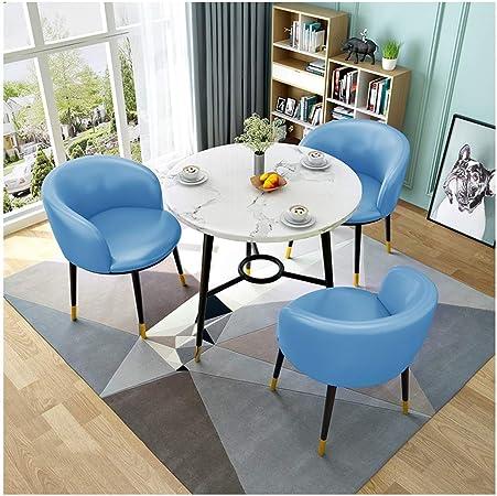 ZCXBHD Juego Mesa y sillas Comedor Retro, Mesa Comedor Redonda Madera con 3 x PU Sillas