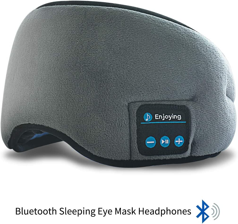 Bluetooth Sleeping Eye Mask Headphones,ERNSTING-4.2 Wireless Bluetooth Headset Music Travel Sleep Headset Built-in Microphone is Adjustable and Washable,Perfect for Travel Sleeping Grey