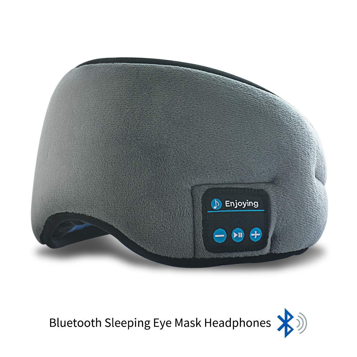Bluetooth Sleeping Eye Mask Headphones,ERNSTING-4.2 Wireless Bluetooth Headset Music Travel Sleep Headset Built-in Microphone is Adjustable and Washable,Perfect for Travel & Sleeping (Grey)