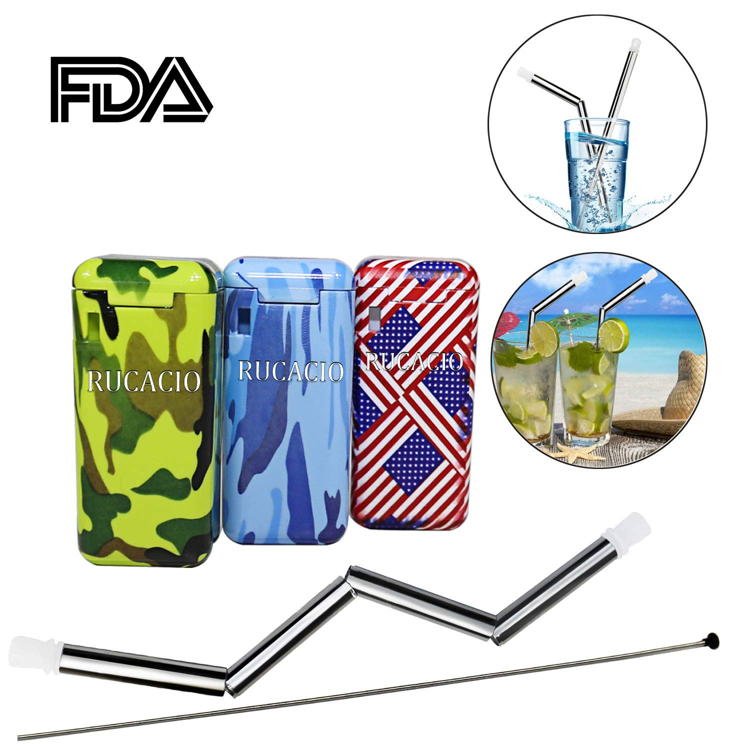 Collapsible Reusable Straw-RUCACIO Portable 304 Stainless Steel Straws Drinking Straw Reusable Case Zero Waste with Keychain (Camouflage)