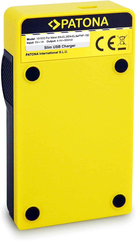 Micro-USB Fuji NP-150 Olympus BLM5 PATONA Estrecho Cargador de Bater/ía para Nikon EN-EL3 8.4 V // 500 mA