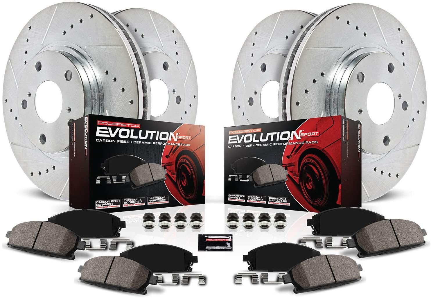 Power Stop K2291 Front & Rear Brake Kit with Drilled/Slotted Brake Rotors and Z23 Evolution Ceramic Brake Pads