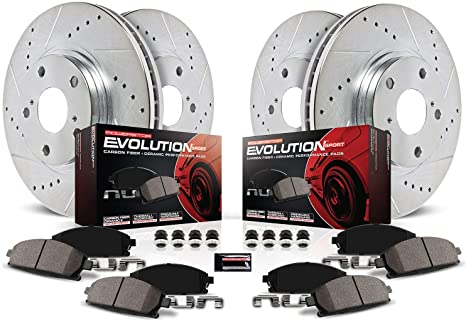 Power Stop TDBK6301 Track Day Front /& Rear Kit Rotors and Ceramic Brake Pads