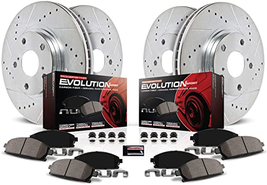 Front Disc Brake Rotors and Ceramic Brake Pads for 2004 Toyota Sienna Brake Pads Include Hardware With Two Years Manufacturer Warranty