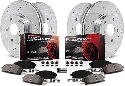 Power Stop K6130 Front & Rear Brake Kit with Drilled/Slotted Brake Rotors and Z23 Evolution Ceramic Brake Pads