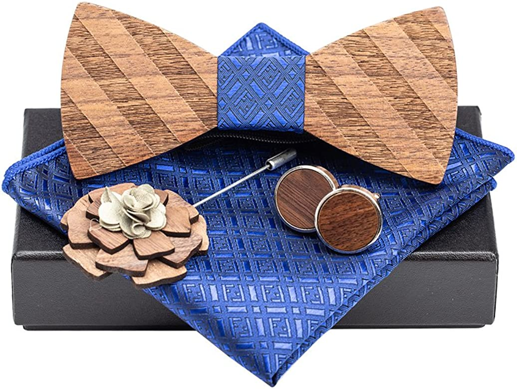 Classic Handmade Mens Wood Bow Tie with Matching Pocket Square and Mens Cufflinks Set