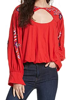 f90ee44b4c6 Free People Women's Printed Birds Of Paradise Top Red X-Small at ...