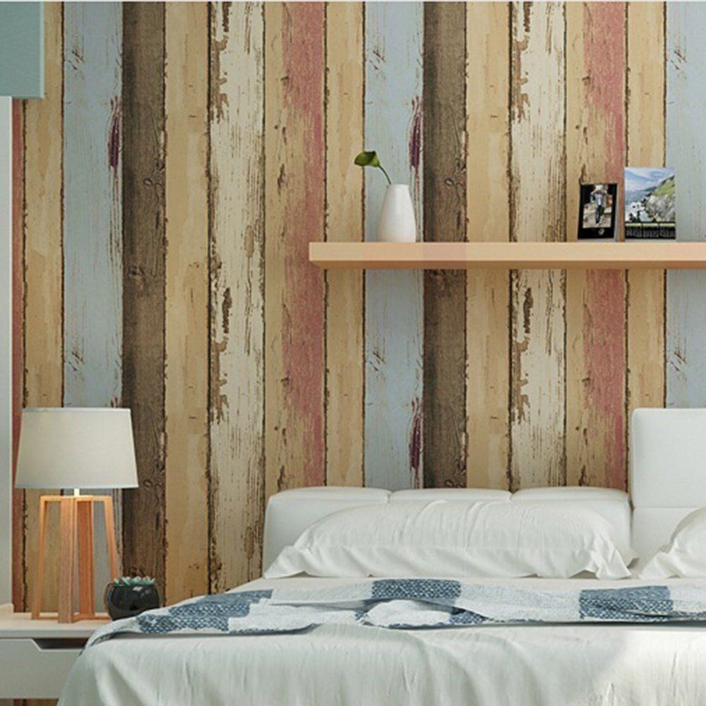 Birwall Faux Vintage Wood Panel Wallpaper Wall Mural For Walls Large Size 54 Square Ft Roll Multi