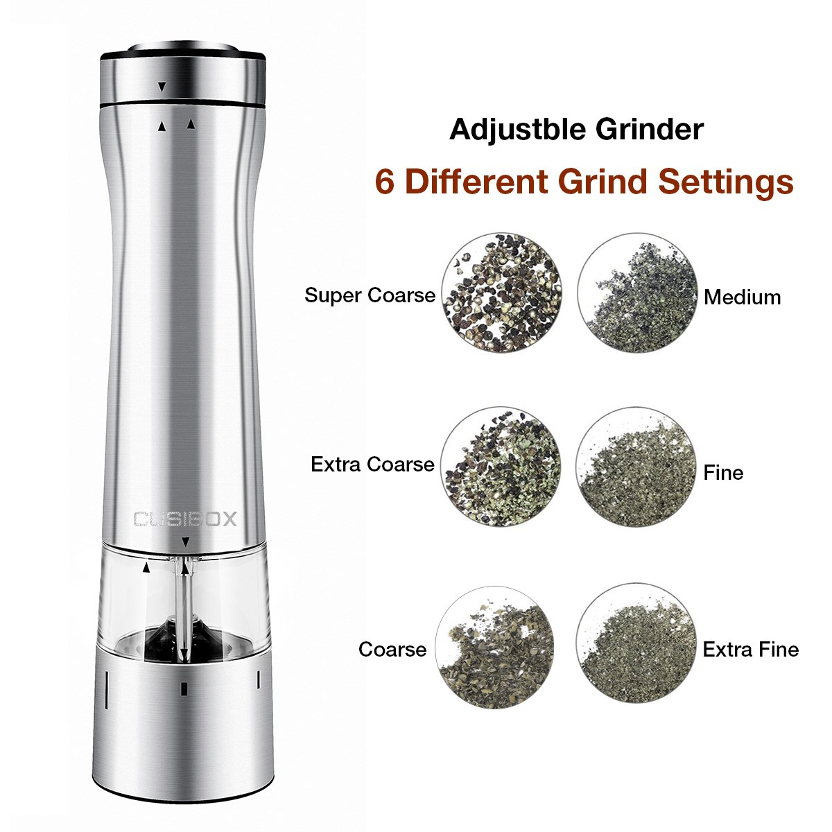 Electric Salt or Pepper Grinder, CUSIBOX Stainless Steel Electric Pepper Grinder or Salt Mill with LED Light at Bottom, Pepper Mill Shaker with Adjustable Grind Coarseness
