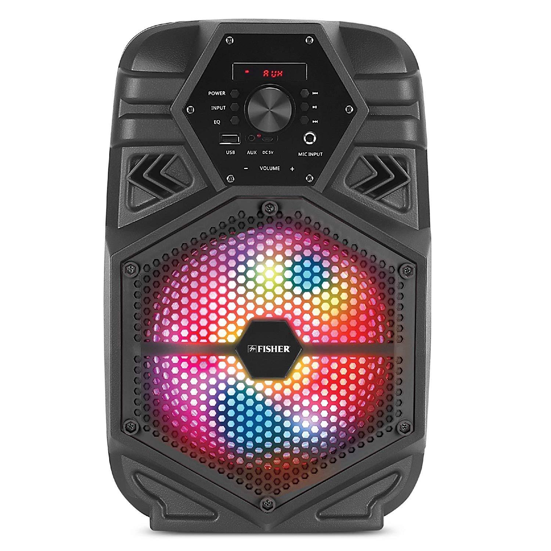 Fisher FBX880 Compact Portable 8-inch Karaoke Speaker, PA System, Bluetooth, FM Radio, USB/Aux/Microphone Inputs (Black)