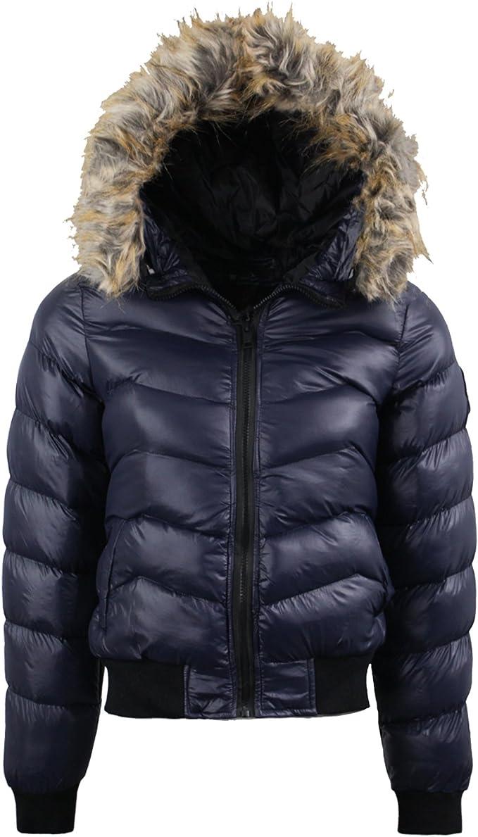Womens Brave Soul Parka Puffer Padded Jacket Hood Warm Ladies Short Coat Winter
