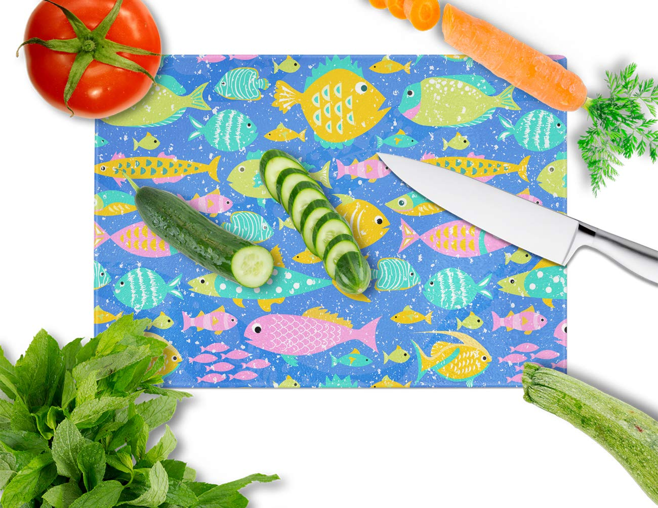 Carolines Treasures VHA3034LCB Little Colorful Fishes Glass Cutting Board Large Multicolor