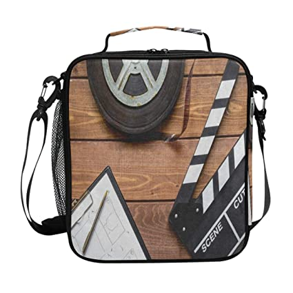 0f6dbb7bacda Amazon.com: Vintage Movie Clapboard Tape Lunch Bag Womens Insulated ...