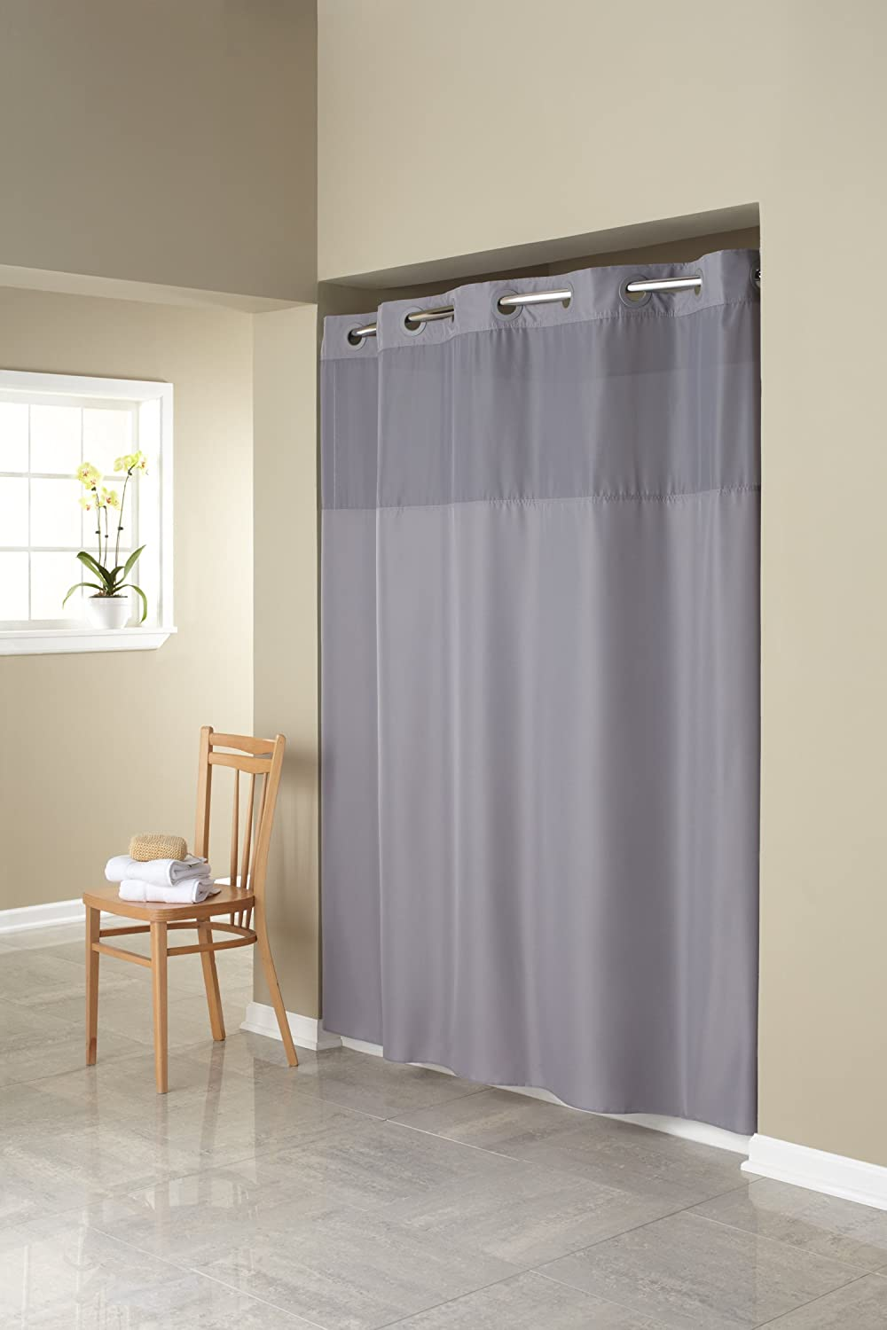 Hookless shower curtain with snap liner - Amazon Com Hookless Rbh40my408 Fabric Shower Curtain With Built In Liner Grey Home Kitchen