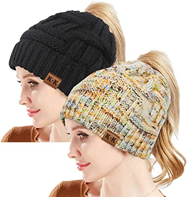 Women Winter Warm Beanietail Messy Bun Ponytail Stretchy Knit Beanie Skull Hat