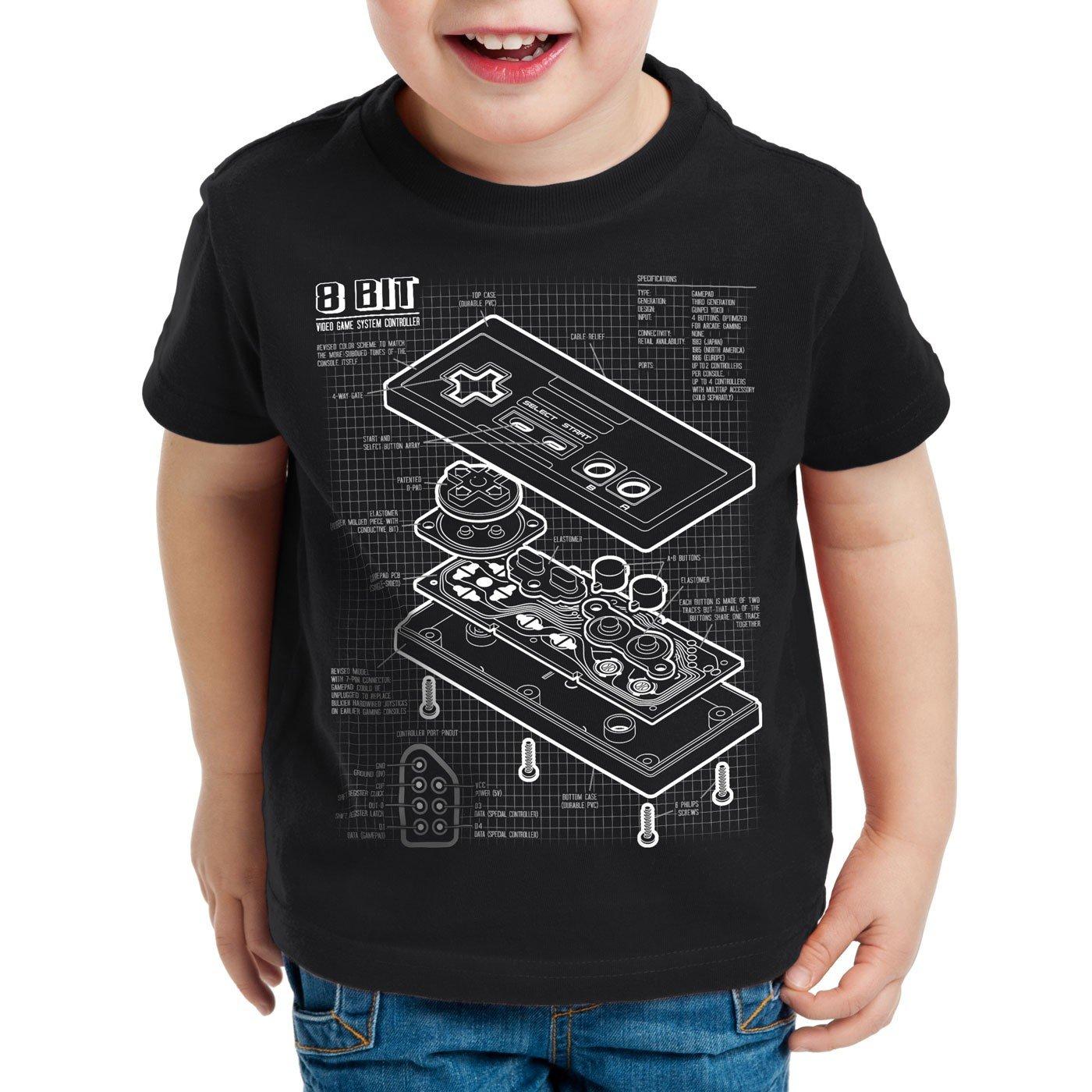 style3 NES Controller Cianografica T-Shirt per bambini e Ragazzi 8-Bit Mario Donkey Bros Kong