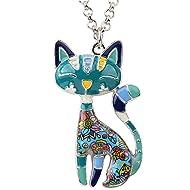 92f94c8aa88d BONSNY Statement Enamel Alloy Chain Cat Necklaces Pendant Original Design  for Women Girls