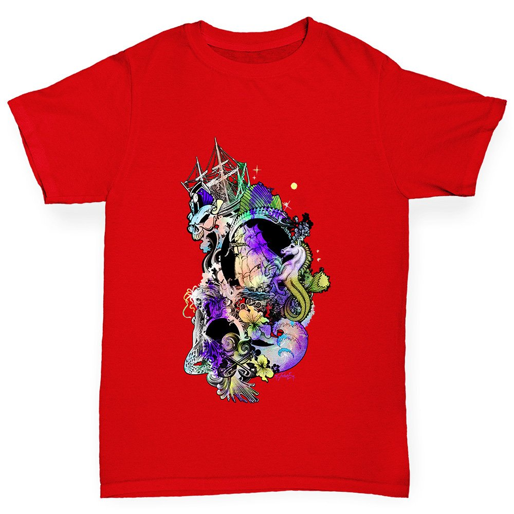 TWISTED ENVY Boys Fantasy Ocean Cotton T-Shirt Comfortable and Soft Classic Tee with Unique Design Age 5-6 Red