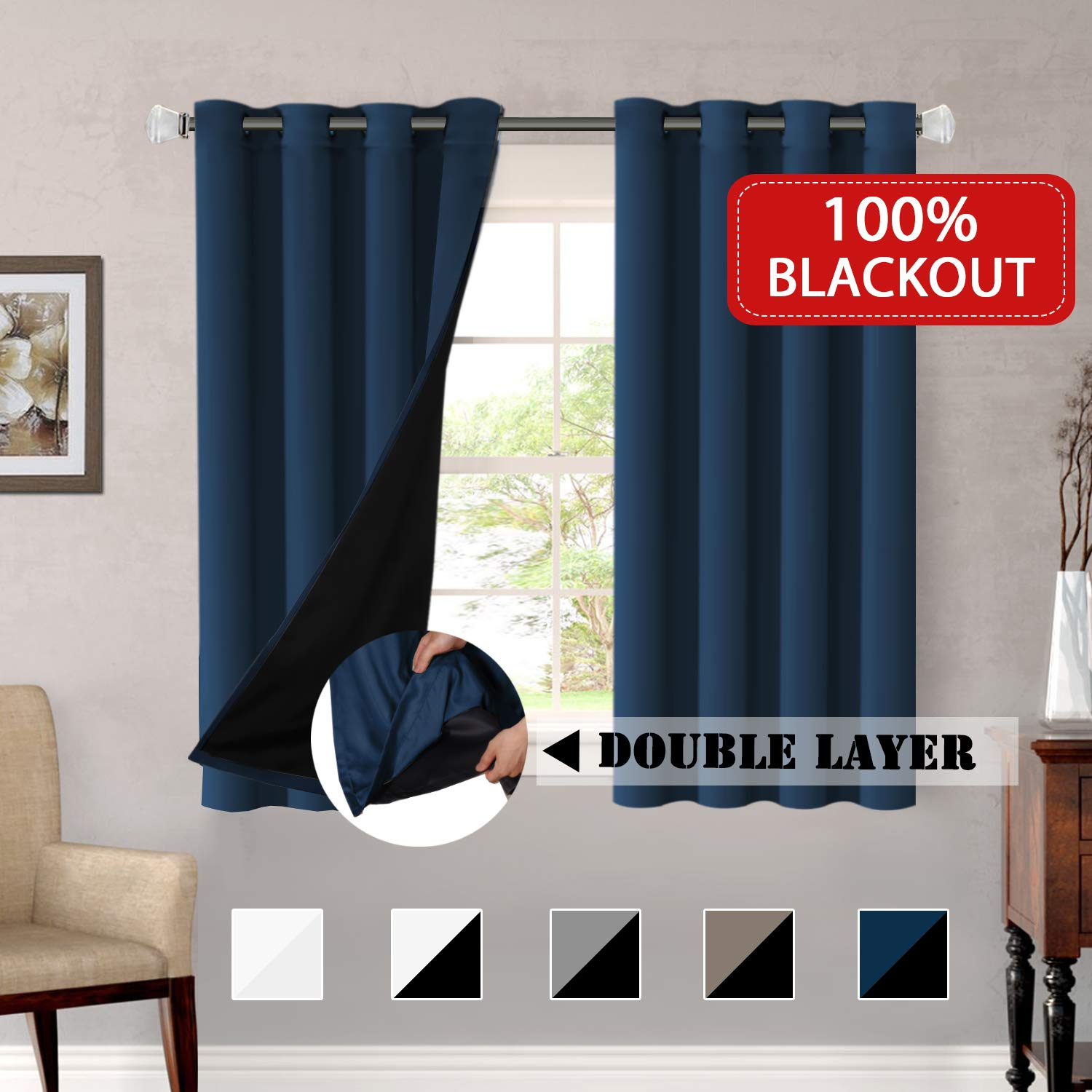 52 by 63 Inch H.VERSAILTEX Window Treatment Panels Ultra Soft Printed Room Darkening Blackout Curtain Panels with Antique Grommet Top Kids Curtains for Bedroom 2 Panels Taupe and Brown Geo Pattern