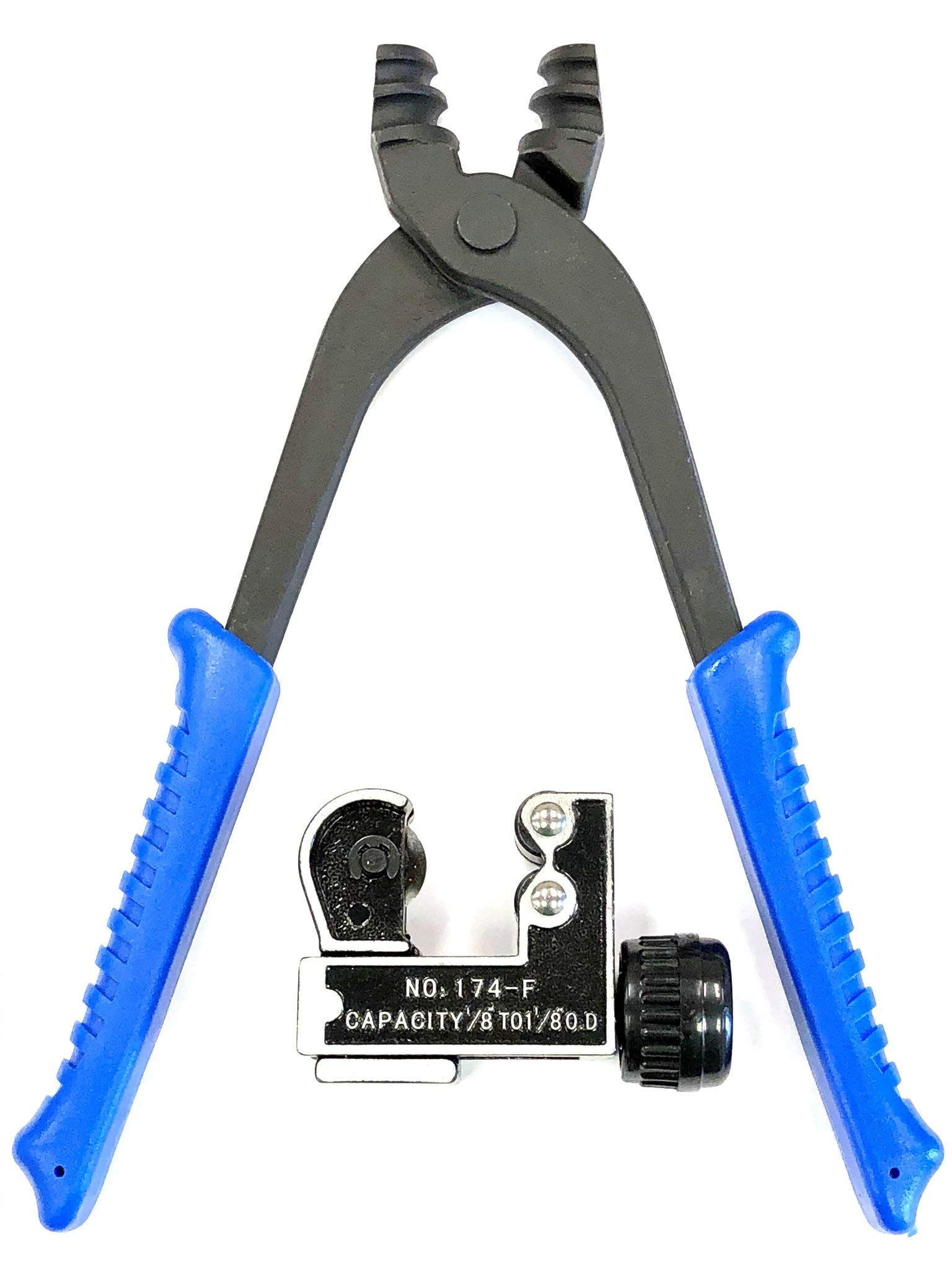 Automotive brake line pliers for 3/16'' & 1/4'' tubing with tube cutter