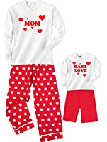 Mom and Baby Love Hearts Matching Pajamas for Adults & Baby Playwear